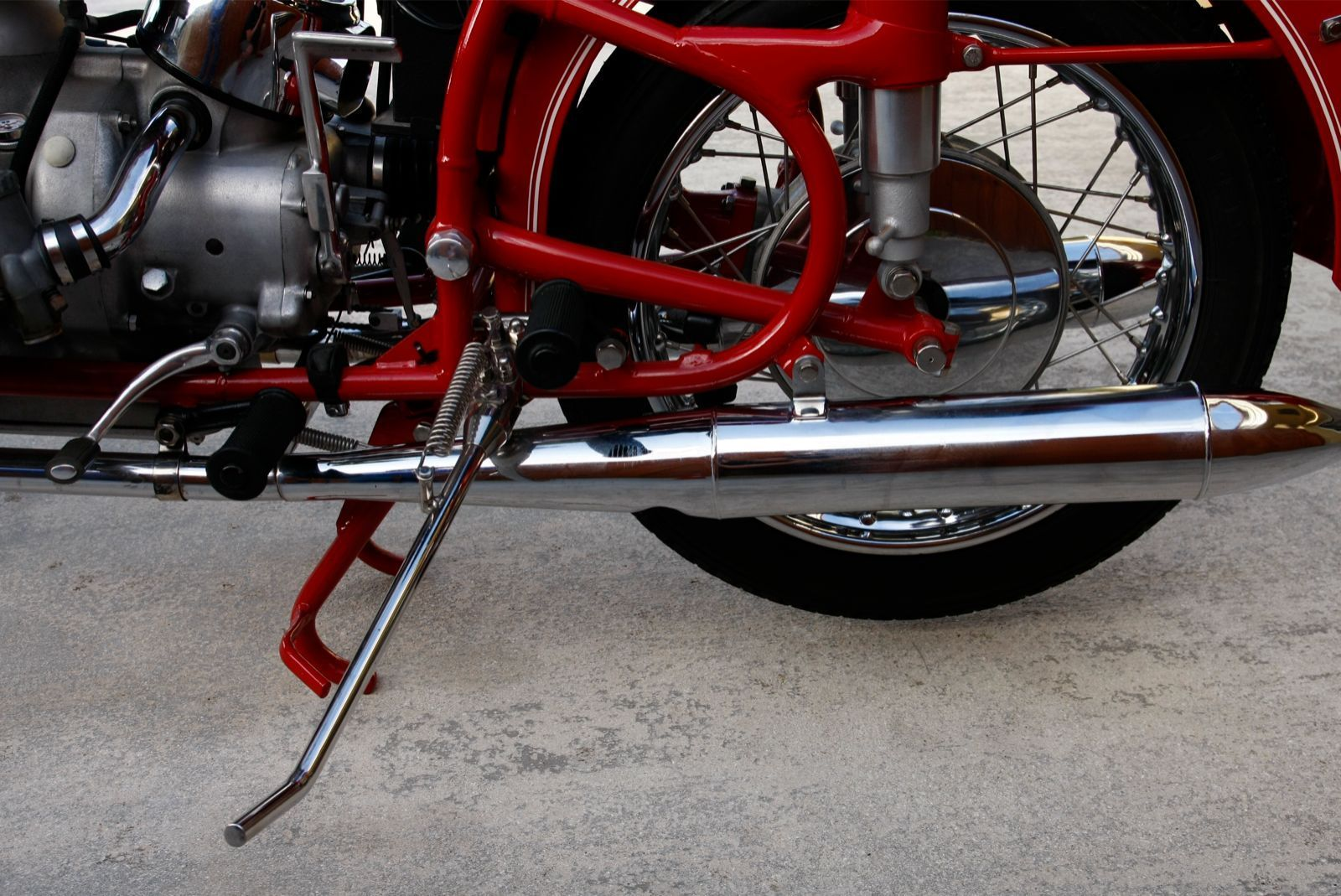 BMW R60/2 - 1966 - Rear Wheel, Frame, Stand and Muffler.