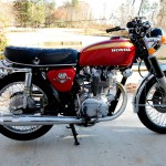 Honda CB450 - 1974 - Right Side View, Honda Badge, Exhausts, Engine and Gearbox.