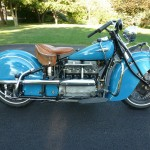 Indian Four - 1941 - Right Side View, Engine and Transmission, Exhaust System and Fenders.