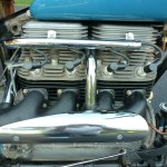 Indian Four - 1941 - Straight Four Engine, Spark Plugs, Exhaust Manifold, Heat Shield and Cylinder Head.