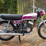Yamaha YR5 - 1972 - Right Side View, Fuel Tank, Exhaust, Seat and Kick Start Lever.