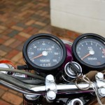Yamaha YR5 - 1972 - Clocks, Speedo and Tacho, Ignition Switch, Handlebars and Trip Rest Knob.