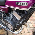 Yamaha YR5 - 1972 - Engine and Gearbox, Oil Pump Cover, Cylinder Head, Clutch Cover and Downpipe.