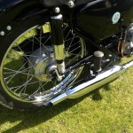 AJS 16MS - 1957 - Muffler, Exhaust, Rear Footrest and Rear Wheel.
