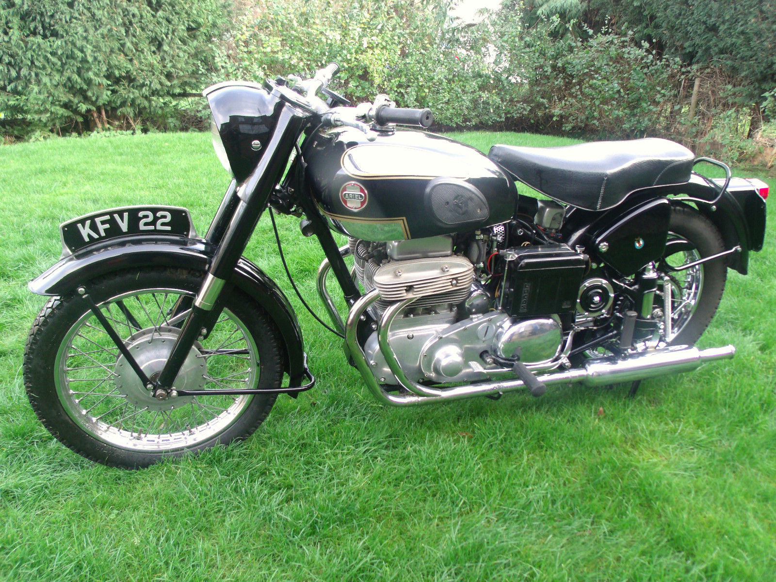Ariel Square 4 - 1955 - Left Side View, Gas Tank, Front Forks, Frame and Headlight.