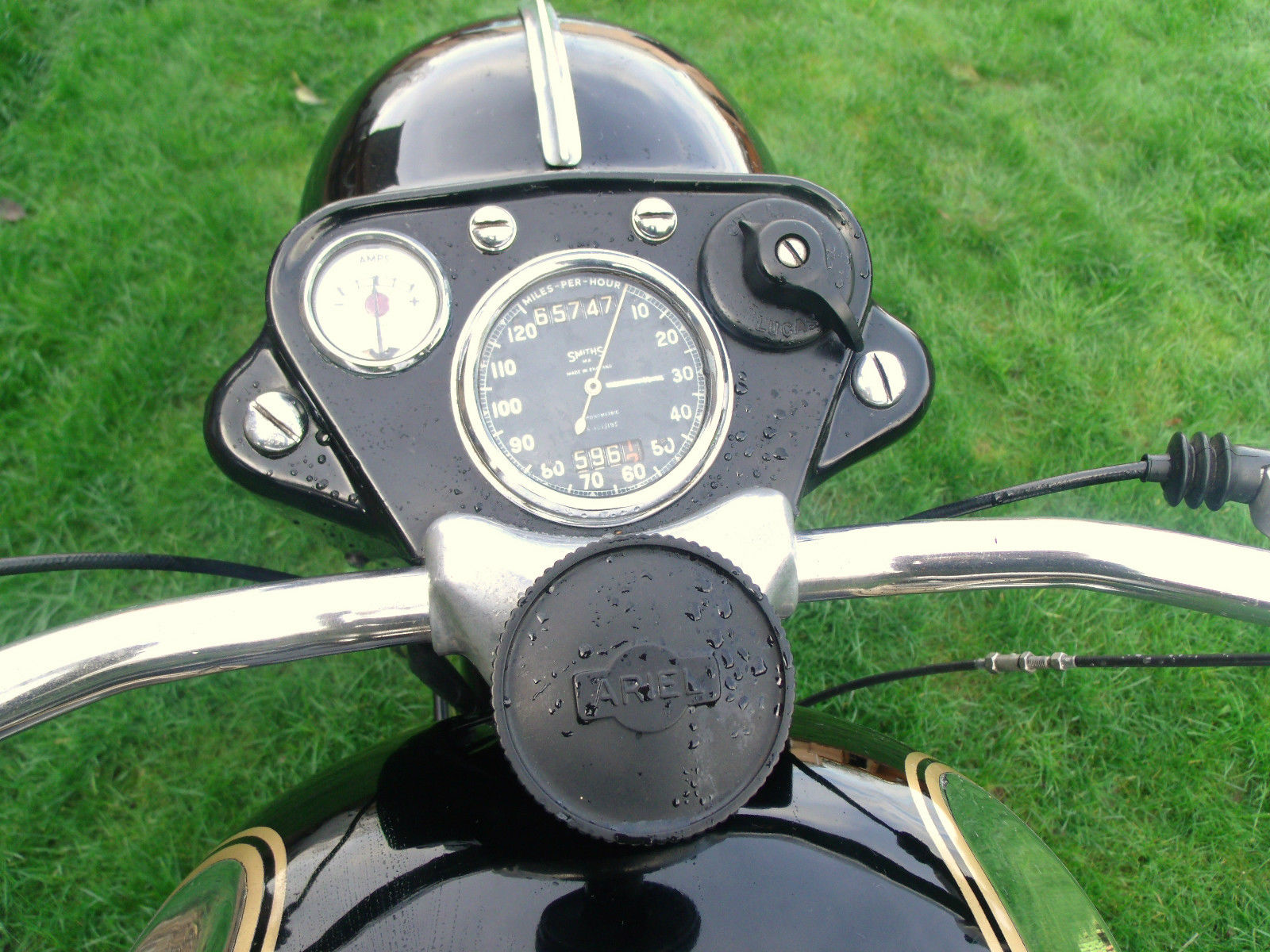 Ariel Square 4 - 1955 - Steering Damper, Ignition Switch, Clock, Speedo and Headlight.