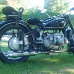 BMW R51/3 - 1951 Right Side View, Rear Suspension, Rear Wheel and Muffler.