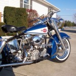 Harley-Davidson FLH Duo Glide - 1960 - Right Side, Seat, Saddle, Engine, Air Cleaner and Fuel Tank.