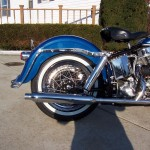 Harley-Davidson FLH Duo Glide - 1960 - Rear End, Fender, Muffler, Seat and Rear Wheel.