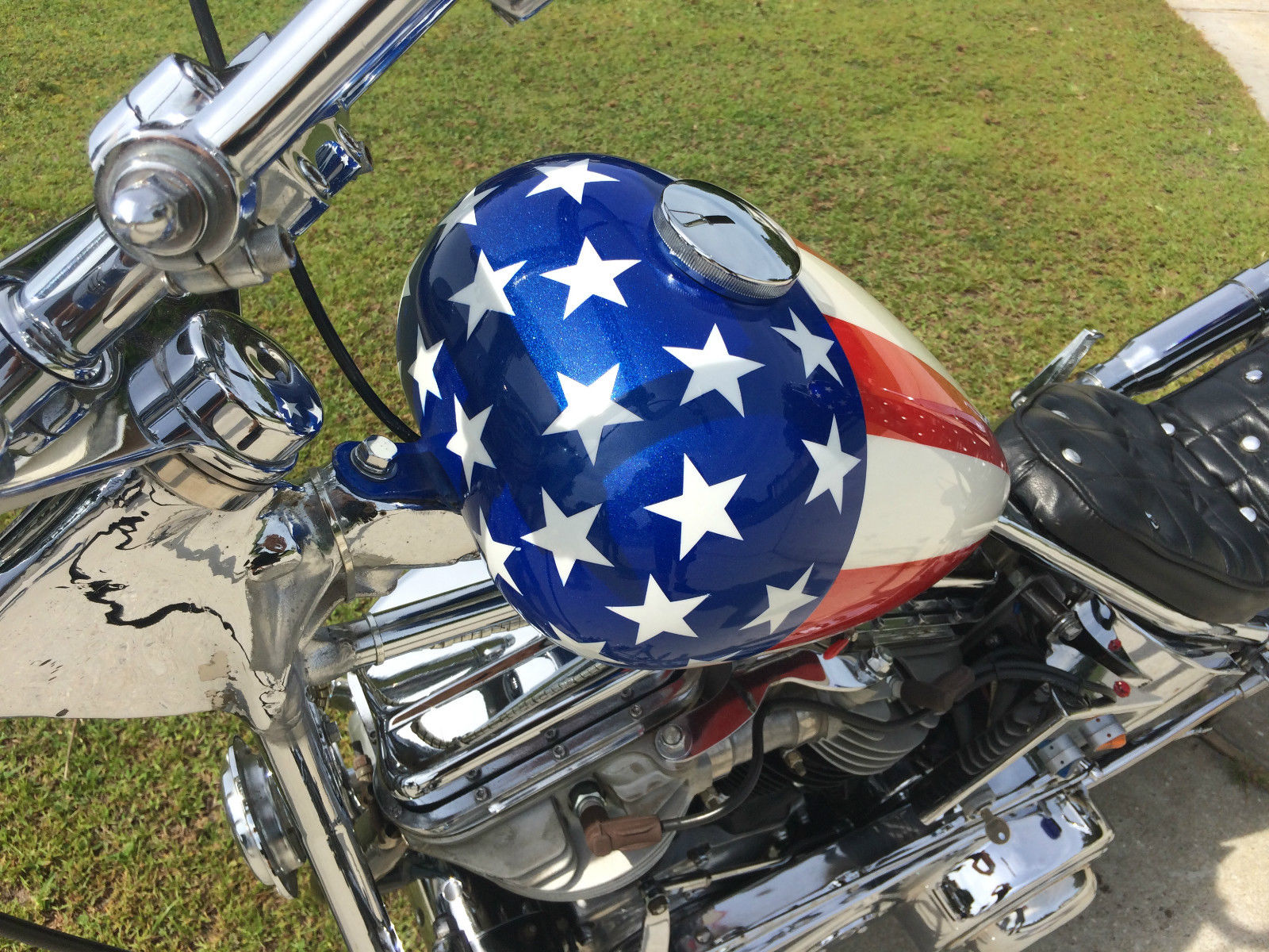 Harley-Davison Easy Rider Replica - 1956 - Red White and Blue, Captain America Paint.