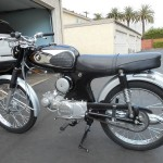 Honda Super 90 - 1965 - Side View with Engine, Frame, Seat and Tank.
