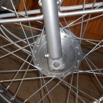 Honda Super 90 - 1965 - Spokes, Front Brake Hub and Forks.