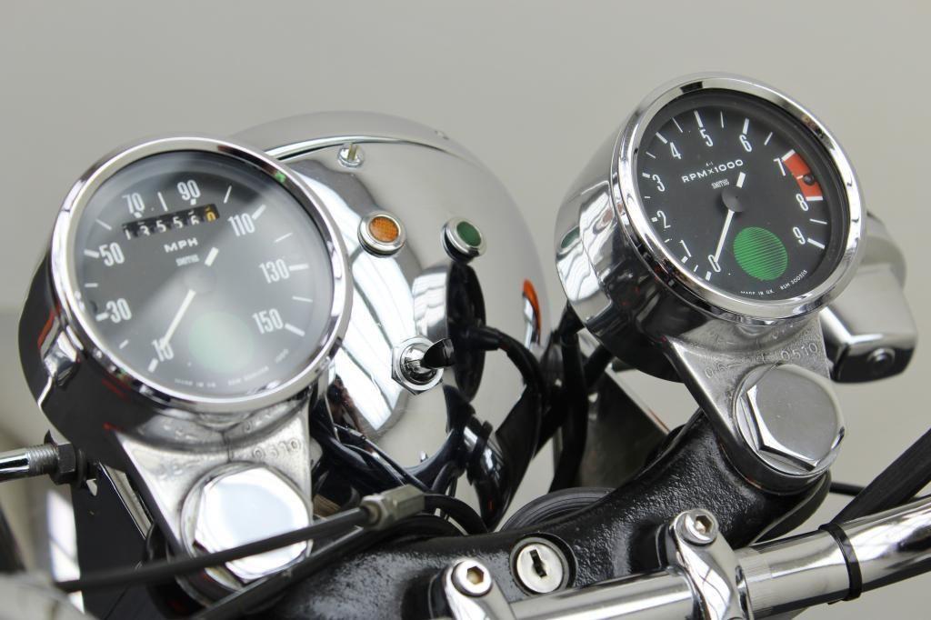 Norton Commando 750 - 1972 - Clock, Speedo, Tacho, Headlight and Switch.