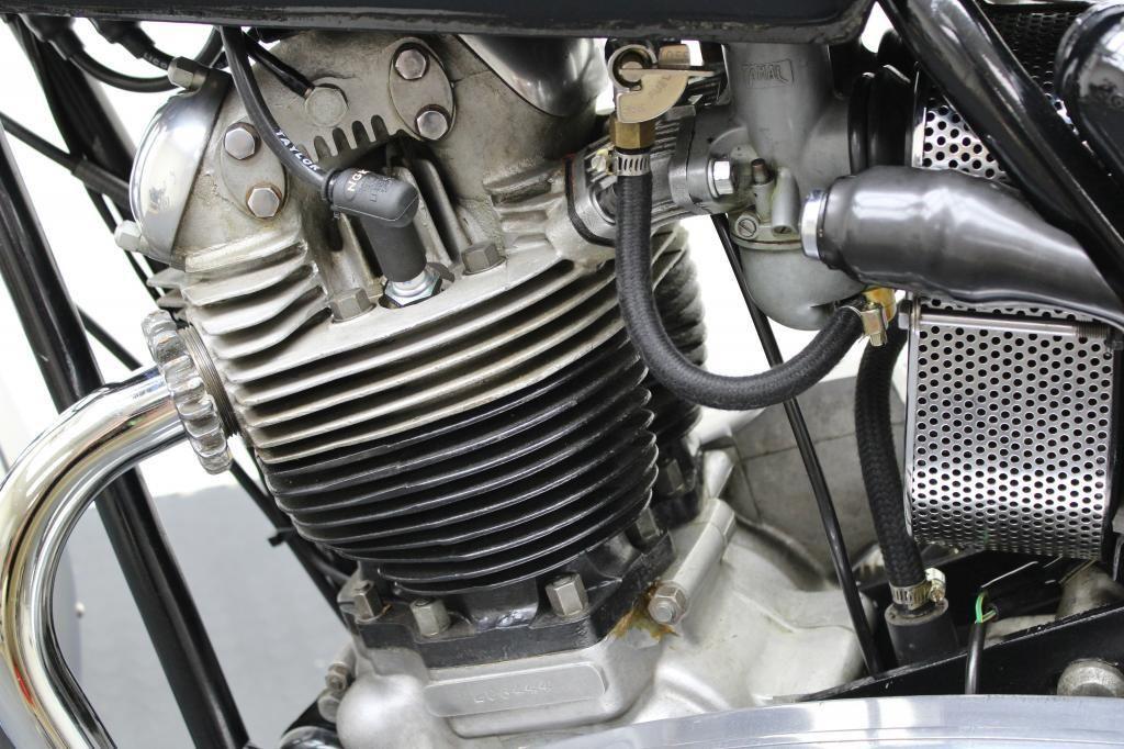 Norton Commando 750 - 1972 - Engine Detail, Cylinder Head, Carburettor, Barrels, and Fuel Line.