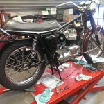Triumph Bonneville - 1970 - Rebuild, Rear Wheel, Shock Absorber and Frame.