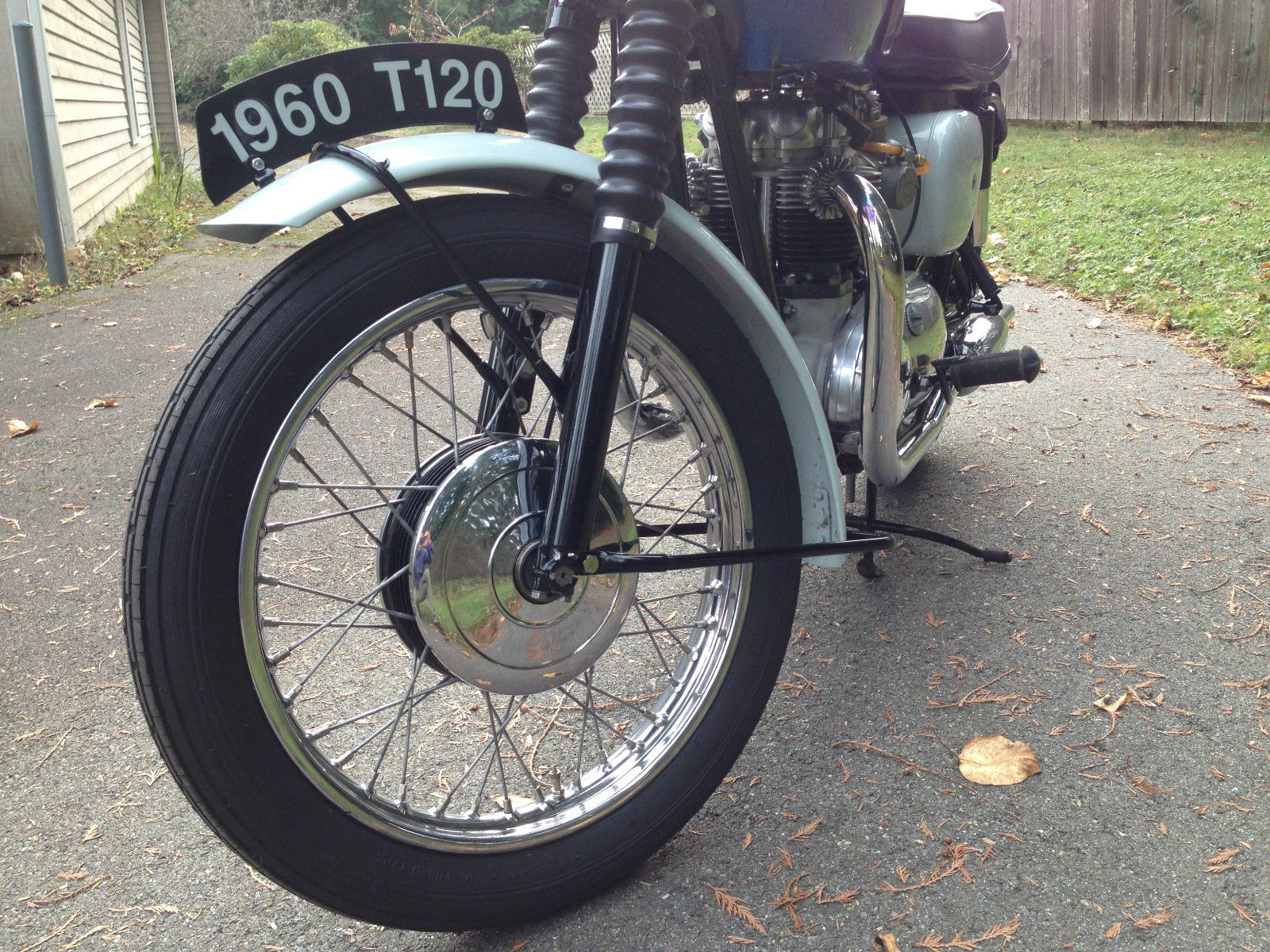 Triumph Bonneville T120 - 1960 - Front Wheel Hub, Number Plate and Forks.