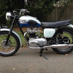 Triumph Bonneville T120 - 1960 - Left Side View, Transmission Cover, Engine Exhaust and Petrol Tank.