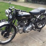 Vincent Comet - 1950 - Right Side View, Gas Tank, Frame, Engine and Number Plate.