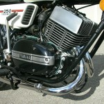 Yamaha RD250B - 1975 - Right Engine view with Exhaust Downpipes.