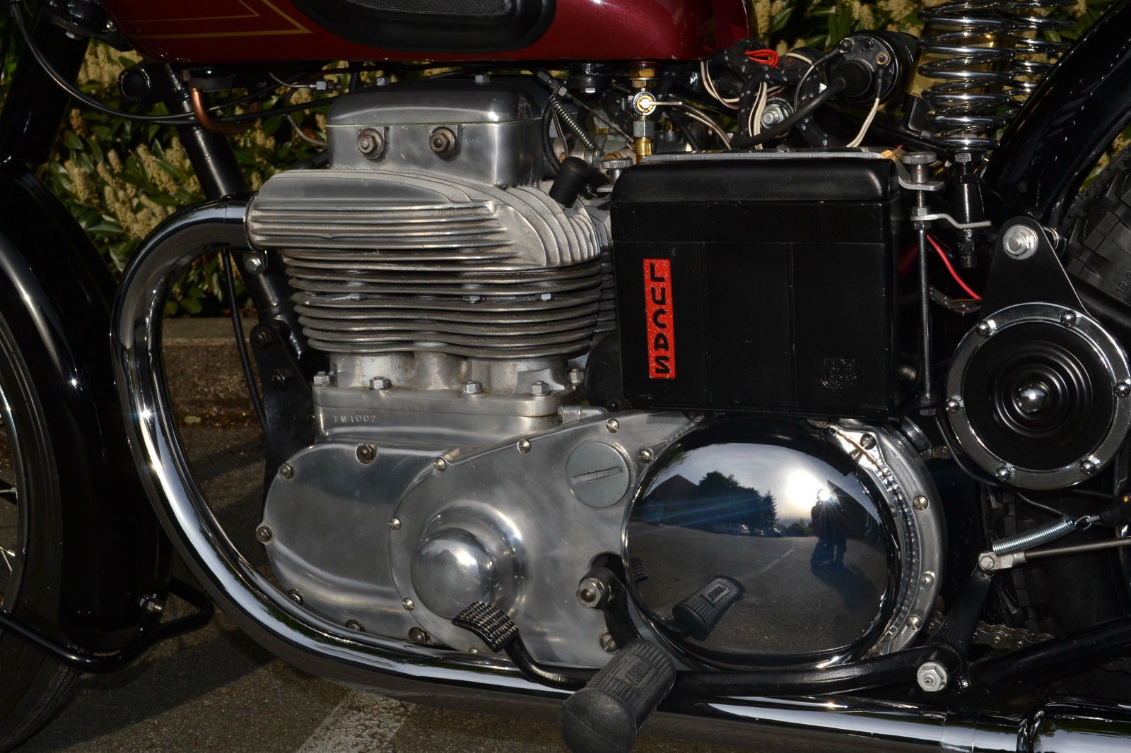 Ariel Square Four - 1952 - Engine and Transmission, Lucas Battery Box and Footrest.