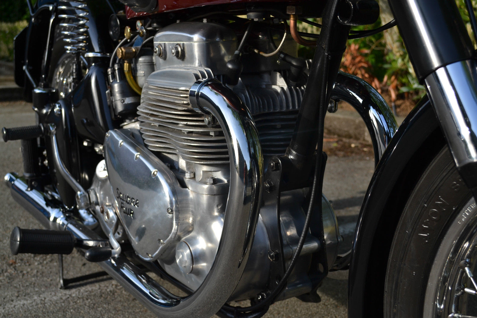 Ariel Square Four - 1952 - Motor and Transmission, Exhaust Downpipes and Cylinders.