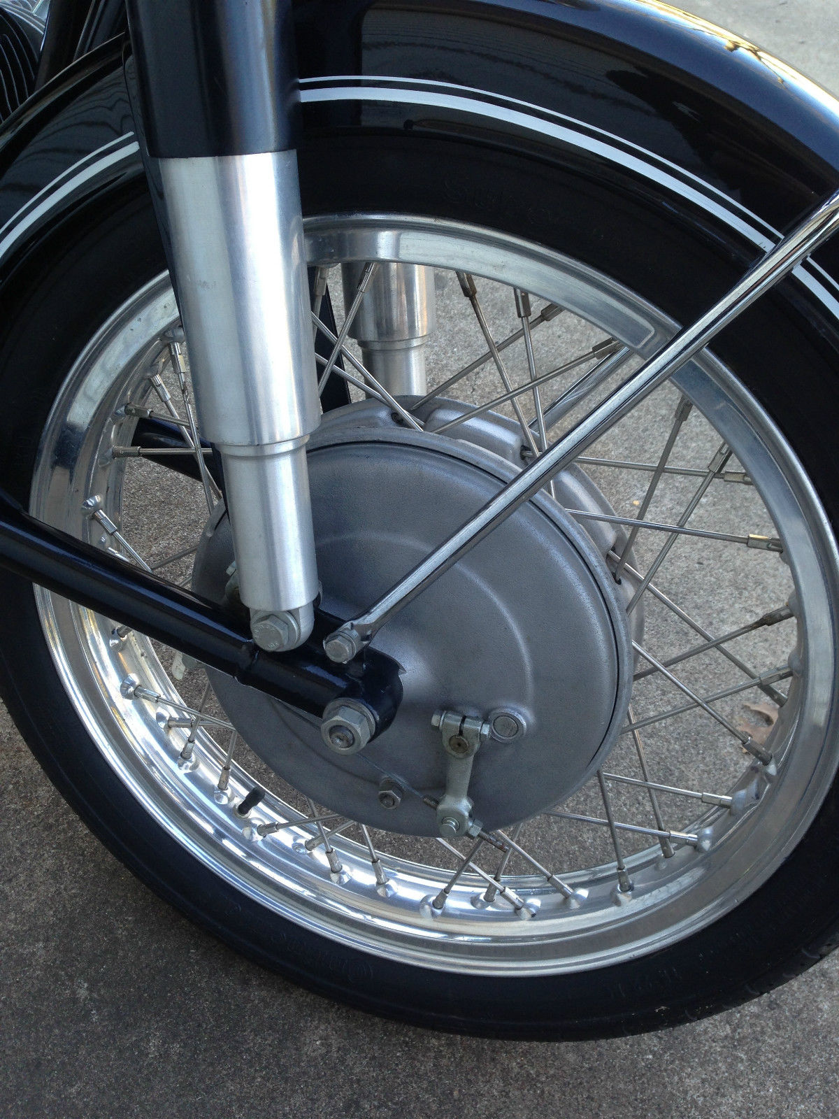 BMW R60/2 - 1967 - Front Wheel, Forks and Front Brake Hub.