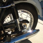 Honda CB450 Black Bomber - 1967 - Rear Silencer, Rear Suspension Unit, Grab Handle and Rear Wheel.
