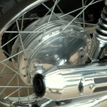 Honda CB750 K1 - 1970 -Rear Wheel Hub, Spokes and Muffler.