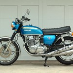 Honda CB750 K1 - 1970 - Left Side View, Seat, Mufflers and Motor.