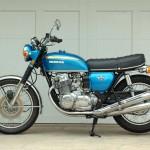 Honda CB750 K1 - 1970 - Left Side View, Seat, Mufflers and Motor.