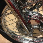 Kawasaki H1 Mach 111 - 1969 - Front Forks, Front Wheel, Spokes and Brake Hub.