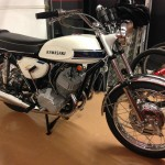 Kawasaki H1 Mach 111 - 1969 - Right Side View, Grips, Handlebars, Cables, Mufflers and Wheels.