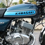 Kawasaki S3 400 - 1974 - Gas Tank, Kawasaki Decal, Motor and Transmission.