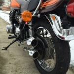 Kawasaki Z1 - 1973 - Grab Rail, Exhausts, Mufflers and Rear Wheel.