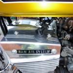 Suzuki GT380 - 1974 - Cylinder Head, Ram Air Cover, Ram Air Badge and Plug Cap.