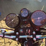 Suzuki GT750B - 1977 - Handlebars, Clocks, Speedo, Tacho and Gear Indicator.