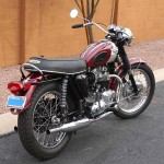 Triumph Bonneville T120R - 1970 - Right Side View, Mudguard, Engine and Gearbox, Rear Light and Rear Shock Absorbers.