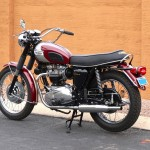 Triumph Bonneville T120R - 1970 - Left Side View, Motor and Transmission, Exhaust, Seat, Grab Rail and Tank.