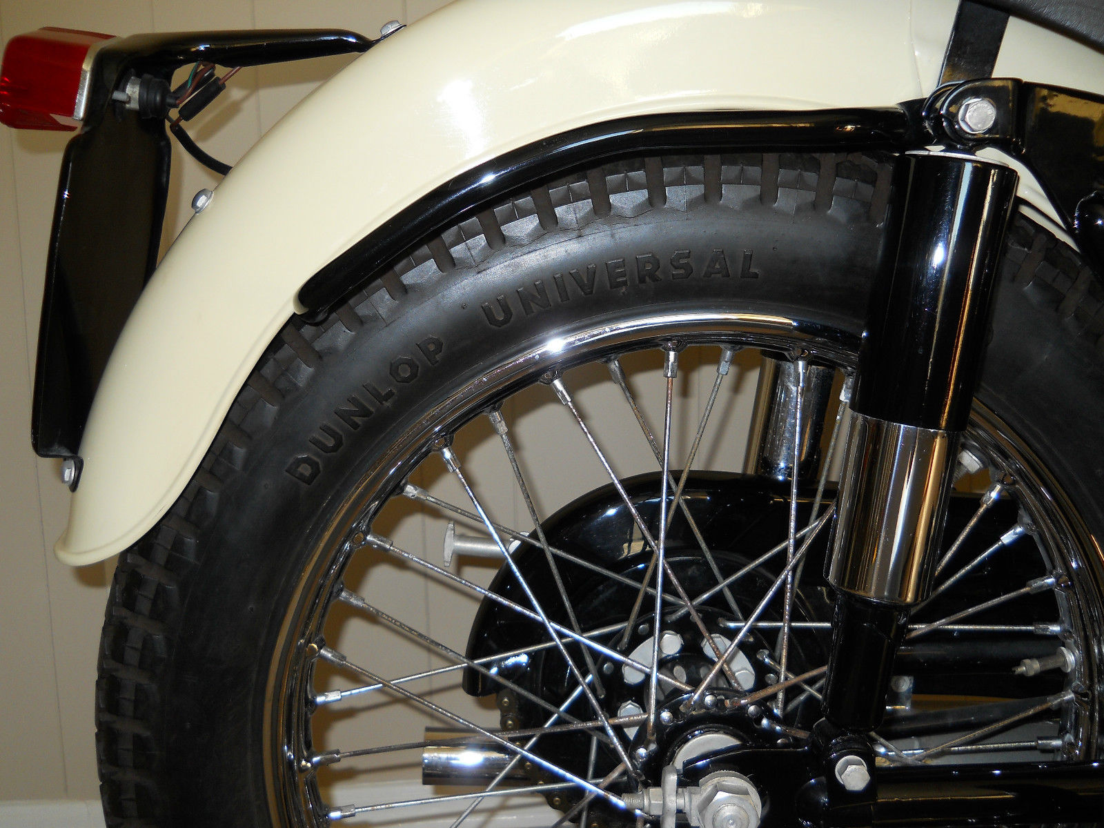 Triumph Tiger T110 - 1958 - Rear Wheel, Dunlop Tyre, Spokes and Fender.