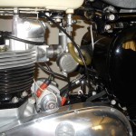 Triumph Tiger T110 - 1958 - Engine Detail, Carburettor, Cables and Dynamo.