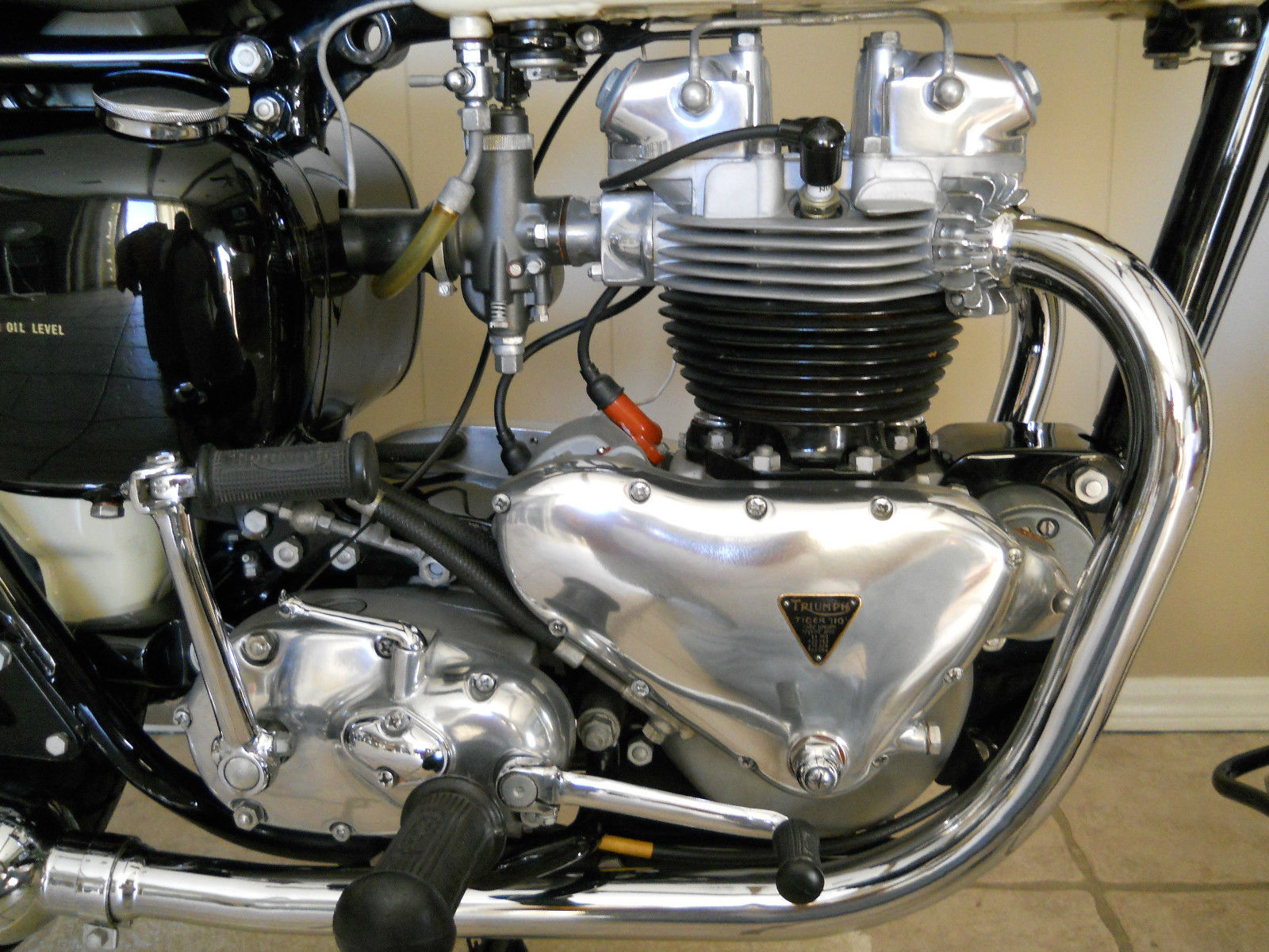 Triumph Tiger T110 - 1958 - Motor Detail, Timing Case Cover, Transmission, Kick Start and Gear Lever.
