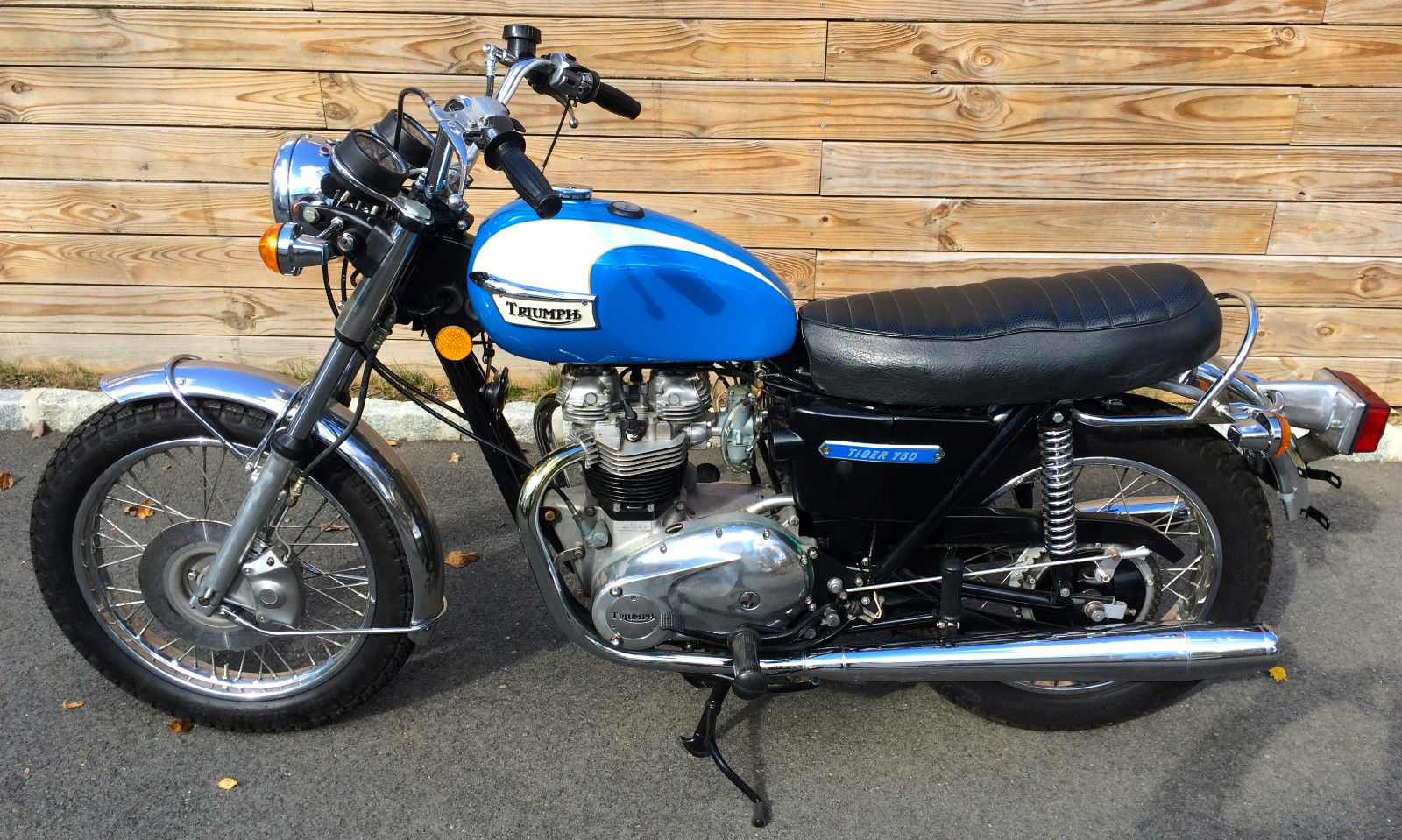 Triumph Tiger - 1973 - Left Side View, Transmission Cover, Triumph Tiger Badge, Seat and Reflector.