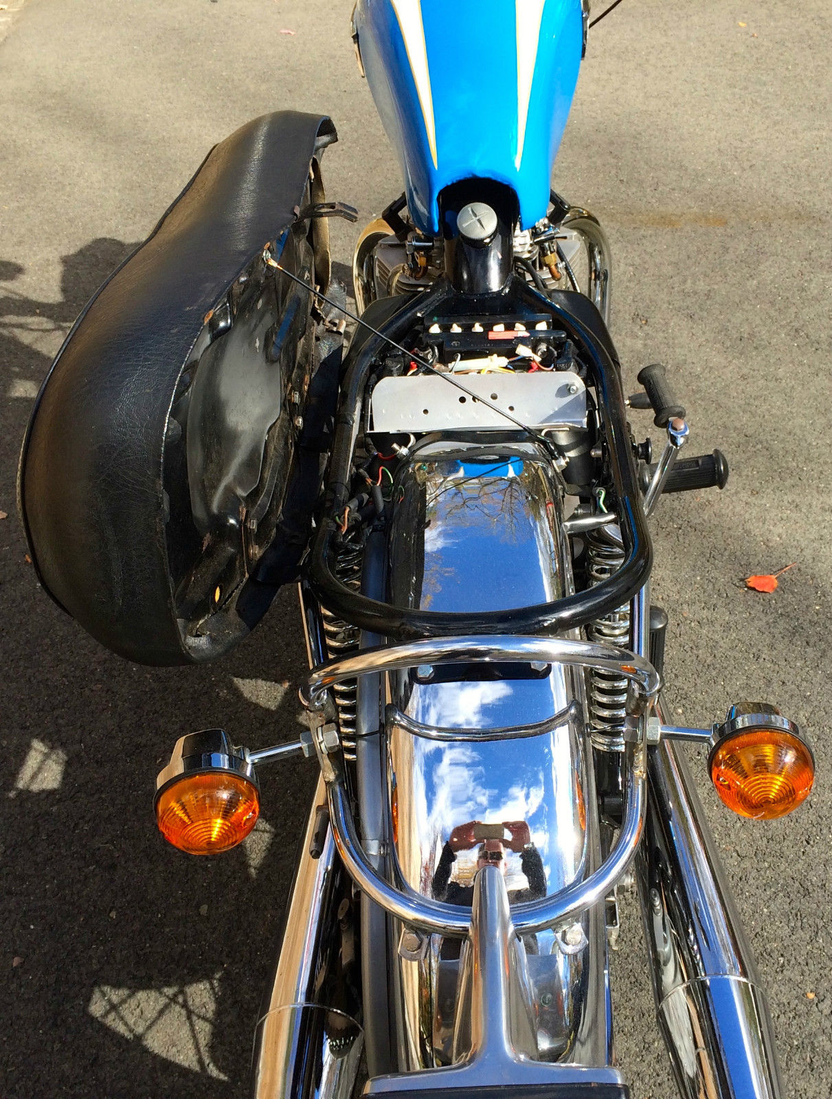 Triumph Tiger - 1973 - Under Seat, Chrome Fender, Battery and Wiring.