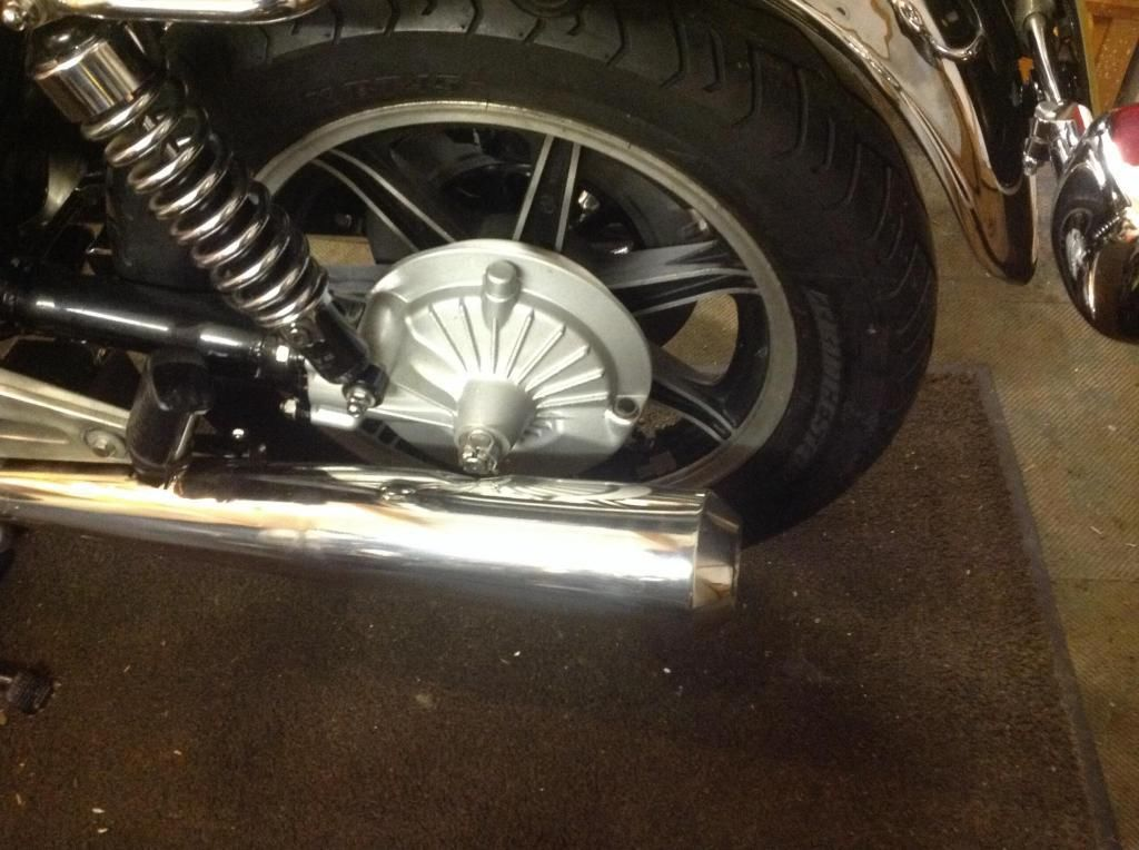 Yamaha XS1100 - 1980 - Stainless Muffler, Bevel Box and Rear Wheel.