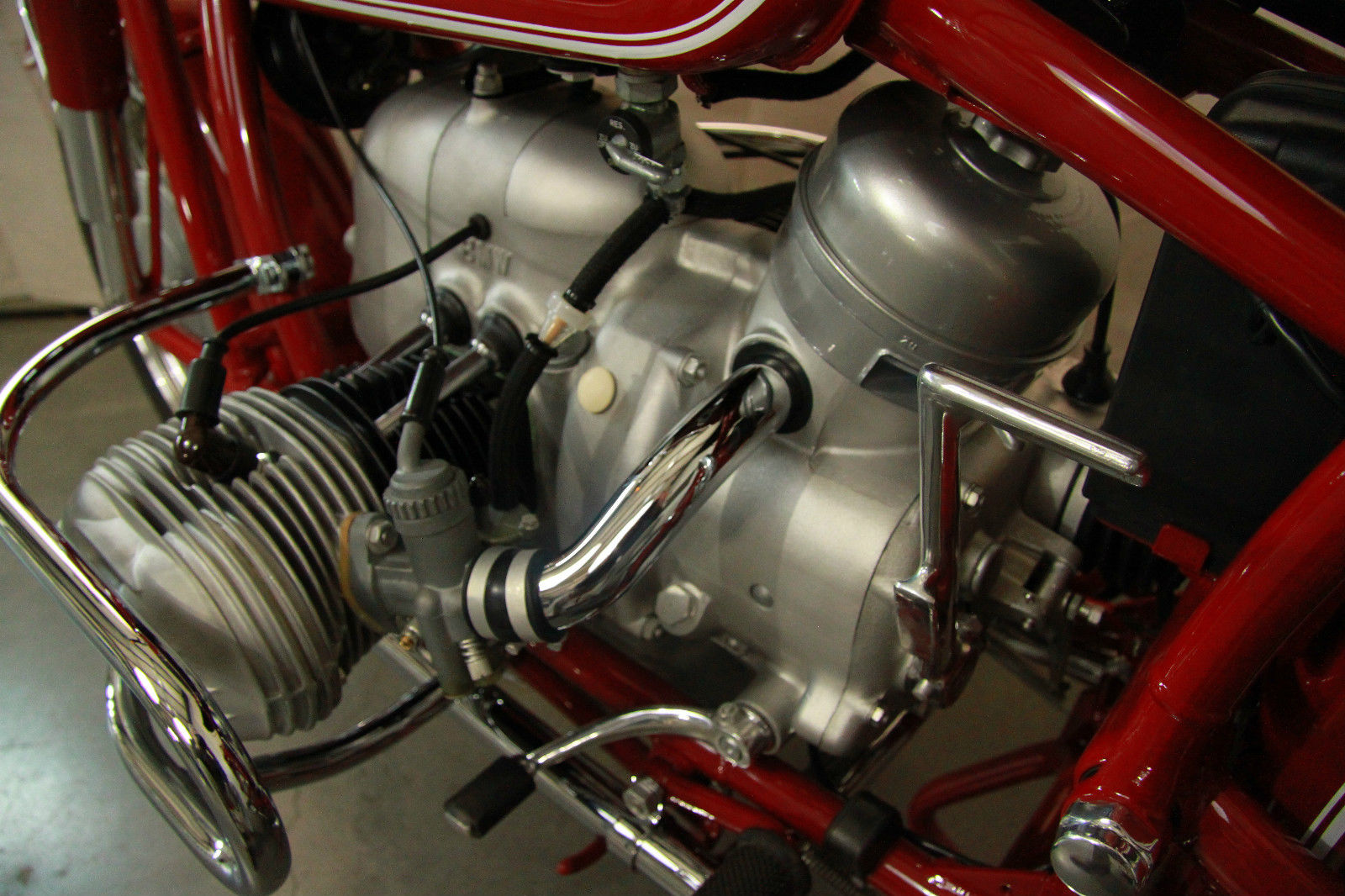 BMW R60/2 - 1963 - Air Intake Tube, Kick Start, Carburettor, Air Filter and Cylinder.