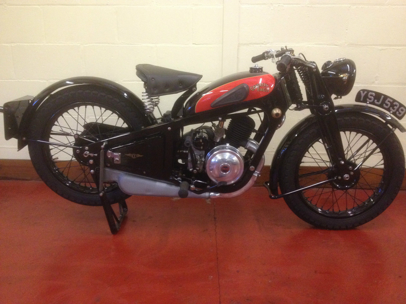 Coventry-Eagle - 1934 - Right Side View, Motor and Transmission, Gas Tank, Saddle and Springs.