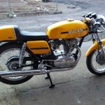 Ducati Desmo 250 - 1974 - Right Side View, Engine and Gearbox, Carburettor, Exhaust System and Side panel.