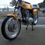 Ducati Desmo 250 - 1974 - Front Wheel, Forks, Mudguard and Headlight.