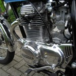 Honda CB360 - 1979 - Motor and Transmission, Polished Engine Cases, Gear Lever and Clutch Cable.