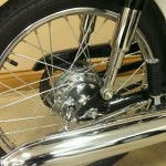 Honda S90 -1966 - Exhaust, Silencer, Muffler, Rear Brake Hub, Spokes and Wheel Rim.
